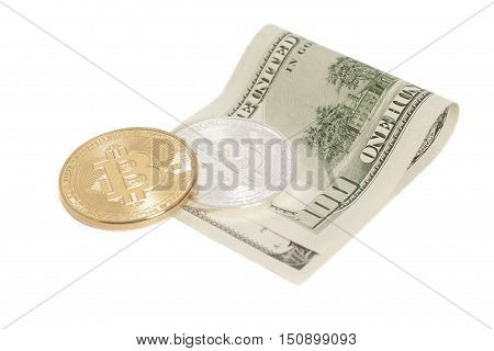 Golden and Silver bitcoin coins and one hundred dollar banknote isolated on white