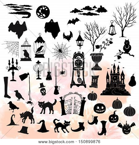 Halloween. Set of  silhouettes elements. Can be used for backgrounds and cards of Halloween decorations. Pumpkin, cat, ghost, hours, castle, moon, autumn. Vector Illustration