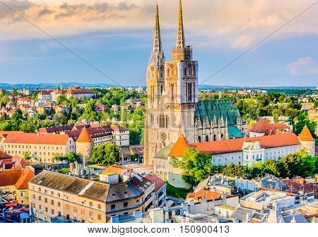 Aerial view on cathedral in Zagreb city, capital town of Croatia, european landmarks.
