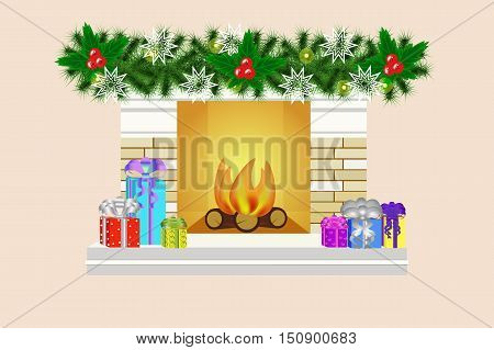 Christmas fireplace vector illustration. A fireplace and gifts. Many Christmas gifts