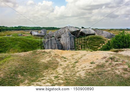 Landscape ruined by artillery fire, Pointe du Hoc, France
