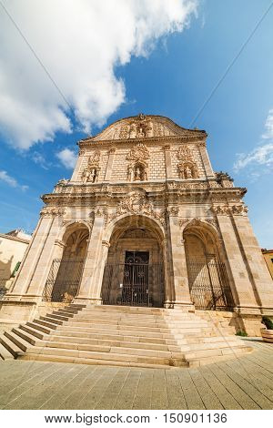 front view of San Nicola cathedral in Sassari Italy