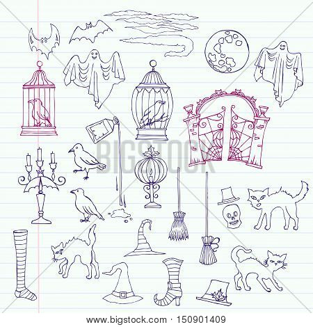 Halloween. Notebook set with  hand drawn elements. Moon, cage, lantern, cat, hat,  gate, clouds, raven, ghost. Vector Illustration
