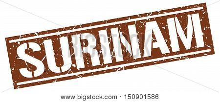 Surinam. stamp. square grunge vintage isolated sign