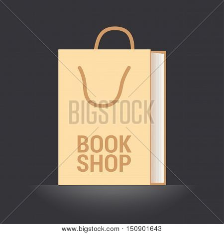 Bookstore bookshop vector emblem symbol icon logo. Template graphic design element with book as a bag for bookshop e-book store