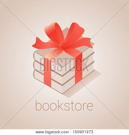 Bookstore bookshop vector emblem sign symbol logo icon. Graphic design element with books as gift for book store book shop e-books. Education concept illustration