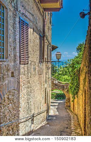 a narrow backstreet in San Gimignano Italy