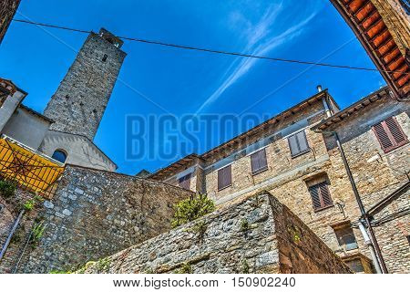 typical corner of San Gimignano in hdr Italy