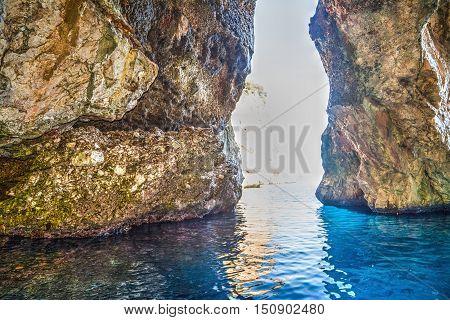 a cave in Orosei Gulf in Sardinia