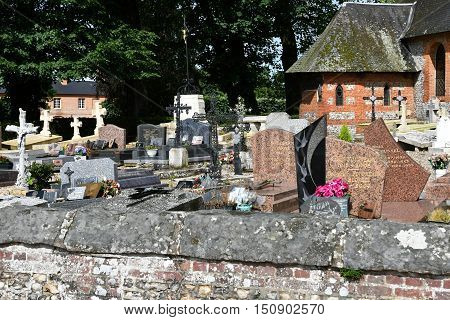 Bois Heroult France - june 23 2016 : the Notre Dame church and the cemetery