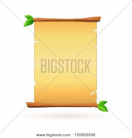 Papyrus poster on white background. Vector template.