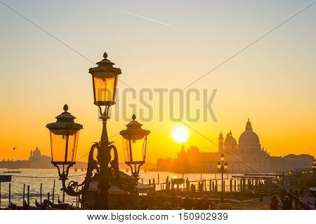 classic lamppost in San Marco square at sunset. Shot in Venice Italy