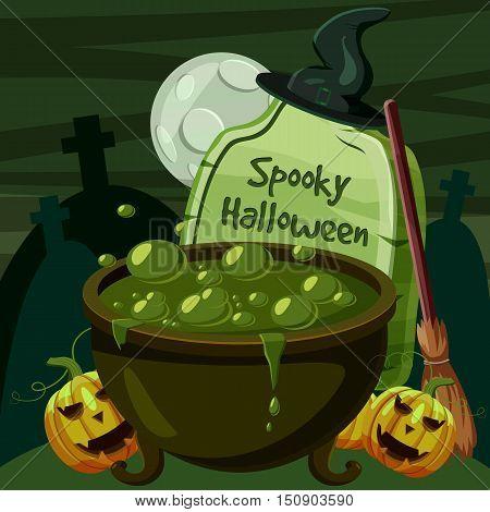 Halloween spooky cauldron concept. Cartoon illustration of Halloween spooky cauldron vector concept for web