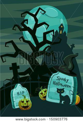 Halloween spooky cemetery concept. Cartoon illustration of Halloween spooky cemetery vector concept for web