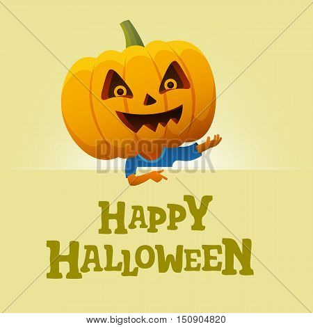 Halloween party background. Man with a pumpkin head vector flat illustration. Funny halloween personage.