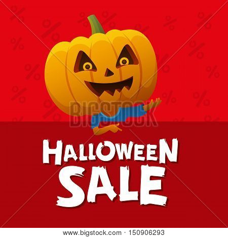 Halloween sale red background. Man with a pumpkin head vector flat illustration. Funny halloween personage.