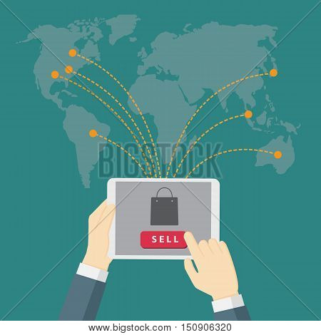 businessman holding tablet and use it to sell the product, digital marketing, e-commerce