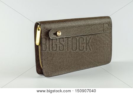 Brown man purse isolated on white background