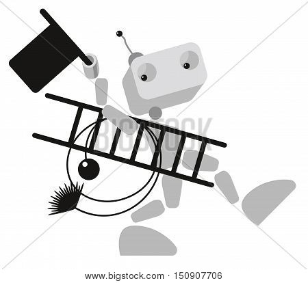 stylized illustration of robot chimney sweeper at work