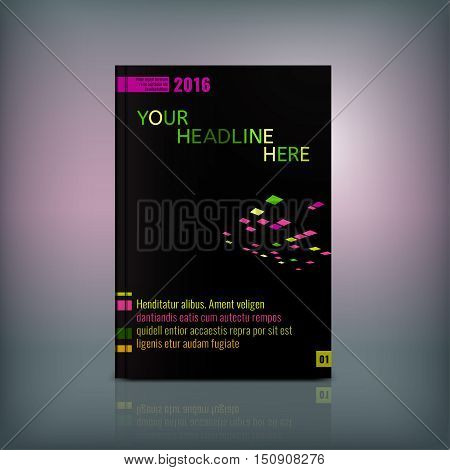 Vector business brochure cover template. Modern backgrounds for poster, print, flyer, book, booklet, brochure and leaflet design. Editable graphic collection in green, pink, orange and black colors