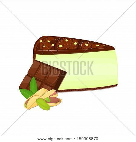 Piece of cheesecake with pistachio nuts and chocolate bar. Vector sliced portion of cheescake cake with creamy pistacia layer, decorated with chocolate shortcake on white background for menu design