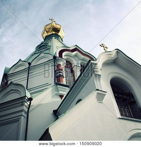 Saint Nicholas's church on the island (skete). Aged photo. Island Valaam. Beautiful churches. Nikolsky monastery. Nicholas The Wonderworker's church. Karelya Russia.