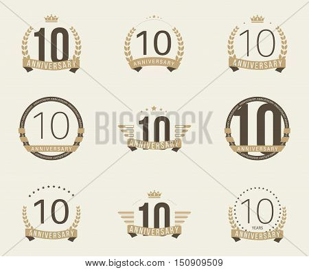 Ten years anniversary logotype with branches, ribbons, wings, crowns. 10th anniversary logo collection. Vector illustration.