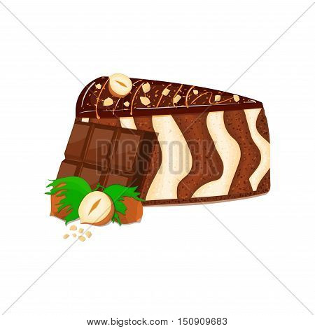 Piece of zebra cake with nuts and chocolate bar. Vector sliced portion of sponge striped cake decorated with chocolate cream and crushed walnut on white background for menu design coffee confectionery