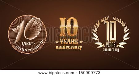 10 years anniversary set of vector logo, icon, number. 10th birthday, marriage or graduation anniversary, jubilee decoration design elements, signs, emblem, symbol, badge in gold