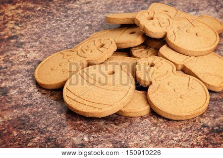 closeup of a pile christmas gingerbread cookies