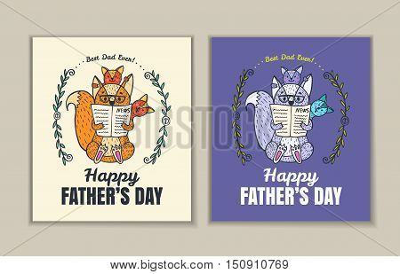 Father's Day card set. Vector illustrated card with fox character family.