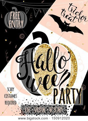 Halloween vector illustration glitter luxury invitation to party with fun pumpkin, bat, confetti, garland elements. Halloween party cute decoration template for shine, gold poster, banner