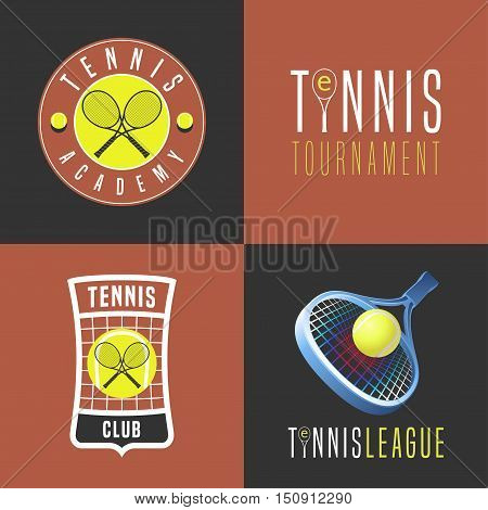 Tennis, sport set of vector logo, icon, symbol, emblem, badge. Collection of modern and vintage graphic design elements with tennis ball, racket for college league, court, championship, competition