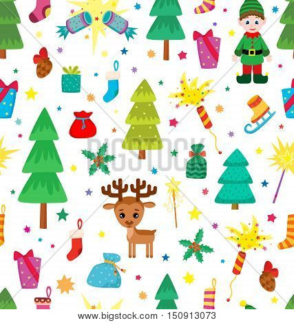 Christmas decoration seamless pattern. Background with graphic elements. Toys hand drawn gifts engraving fur-trees deer and gifts socks. New Year vector.