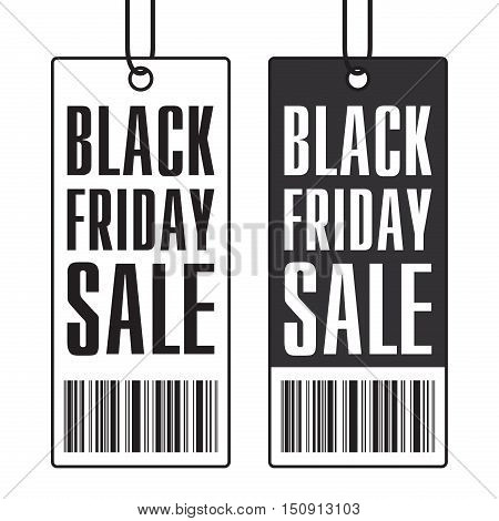 Black Friday Sale, clothing tag, barcode, vector design