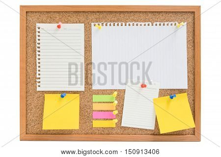 Isolated wooden board with colorful sticky notes and paper pin on the board