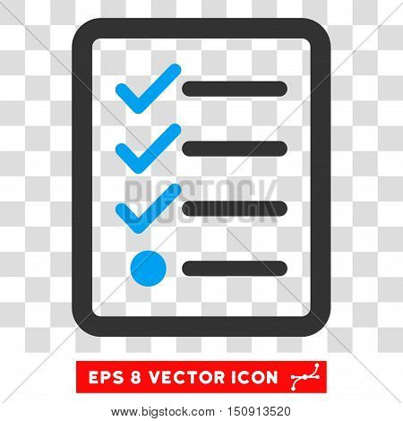 Vector Checklist EPS vector icon. Illustration style is flat iconic bicolor blue and gray symbol on a transparent background.