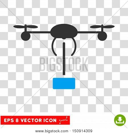 Vector Copter Shipment EPS vector icon. Illustration style is flat iconic bicolor blue and gray symbol on a transparent background.