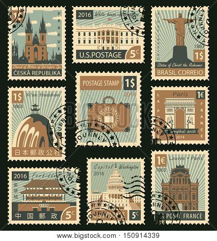 set of stamps with different historical architectural sights landmarks