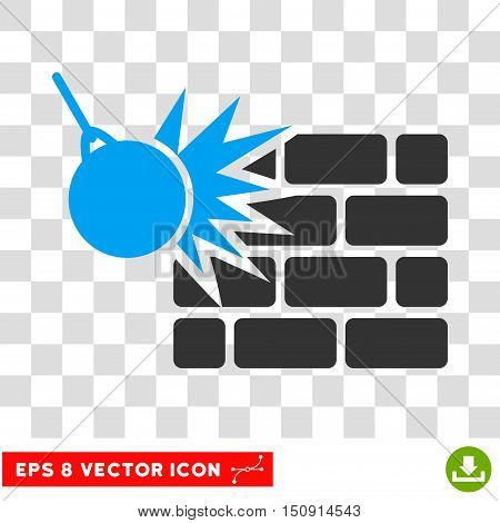 Vector Destruction EPS vector icon. Illustration style is flat iconic bicolor blue and gray symbol on a transparent background.
