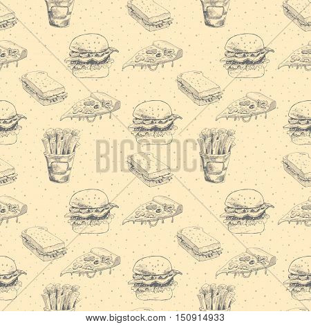 Hand drawn fast food pattern. Burger, pizza, french fries detailed illustrations. Great for restaurant menu or banner. Vector Eps8 illustration.