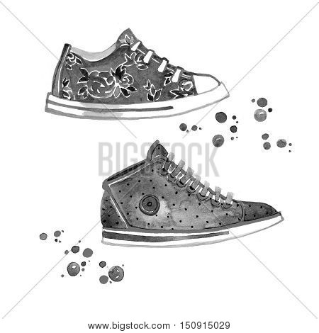Classic Black and White Sneakers isolated on white