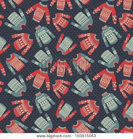 vector seamless pattern with hand drawn Christmas ugly sweaters in vintage style