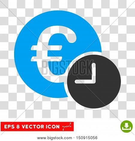 Vector Euro Credit EPS vector pictogram. Illustration style is flat iconic bicolor blue and gray symbol on a transparent background.