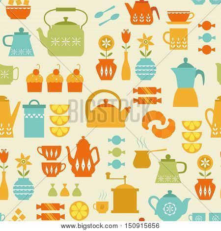 Seamless retro-style pattern with coffee and tea things.