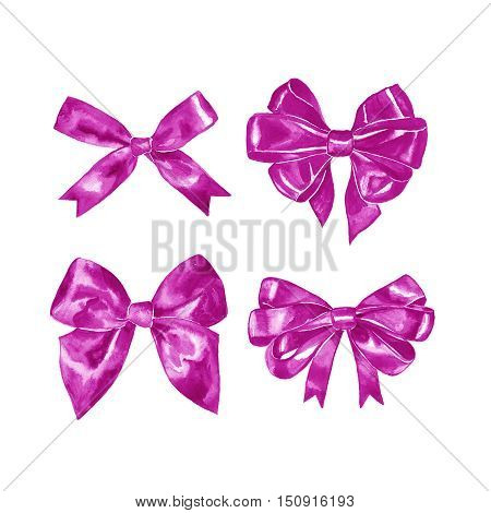 Pink gift bow. Watercolor drawing. Illustration on white background