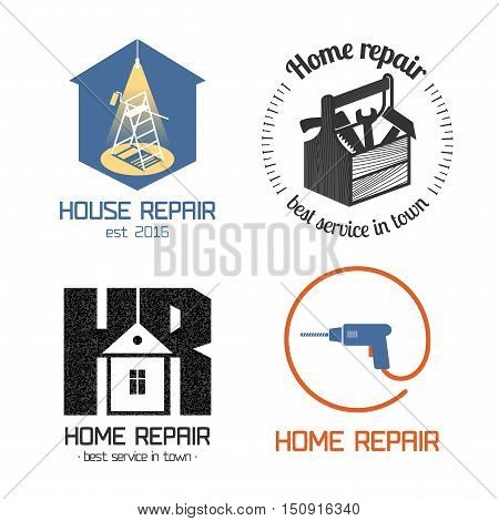Set of home repair, house remodel vector icon, symbol, sign, logo, emblem. Template graphic design elements for construction company, builders, home and house maintenance with building instruments