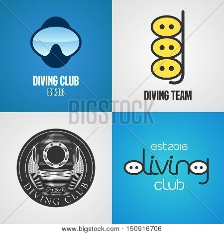 Set of diving, snorkeling vector icons, sign, symbol, emblem, logo. Graphic design elements with golden trophy, snorkel tune for diving club, divers, competition, studying