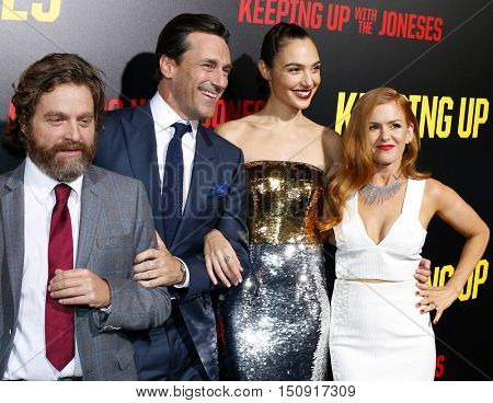 Zach Galifianakis, Isla Fisher, Jon Hamm and Gal Gadot at the Los Angeles premiere of 'Keeping Up With The Joneses' held at the Fox Studios in Los Angeles, USA on October 8, 2016.