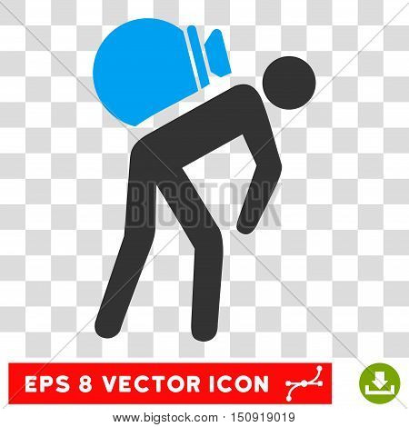 Vector Porter EPS vector icon. Illustration style is flat iconic bicolor blue and gray symbol on a transparent background.